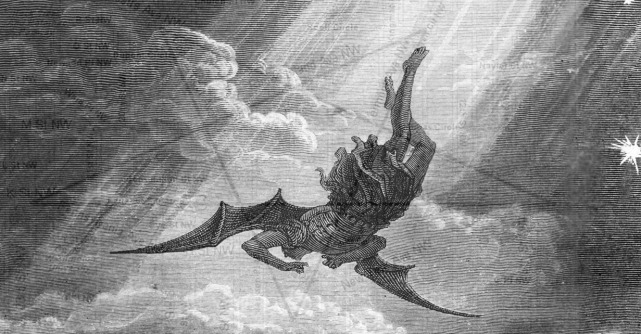 In this Gustave Dore engraving from Milton's Paradise Lost, Satan, the Fallen Angel, is flung from Heaven and nears the confines of the Earth on his way to Hell